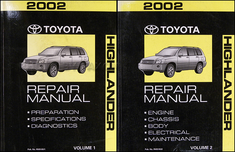2002 toyota highlander repair shop manual original set rh faxonautoliterature com 2002 toyota highlander wiring diagram 2002 Toyota Highlander Problems