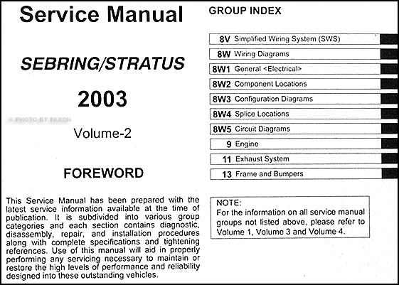 2003 sebring stratus coupe repair shop manual original 4 volume set rh faxonautoliterature com 2003 chrysler sebring repair manual pdf 2003 chrysler sebring repair manual pdf