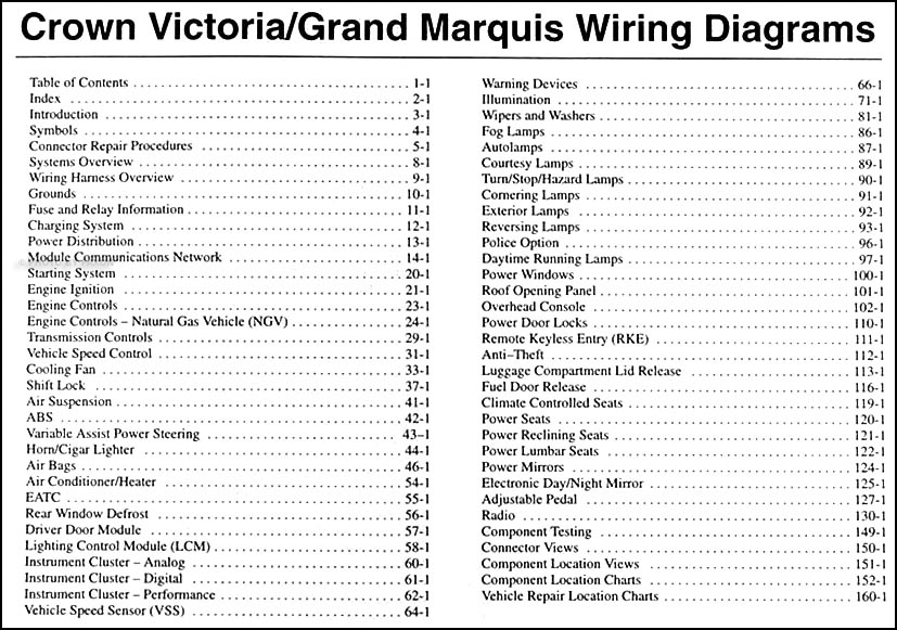 2003 crown victoria, marauder & grand marquis original wiring Mercury Grand Marquis Radio Wiring Diagram grand marquis original wiring diagram manual table of contents mercury grand marquis radio wiring diagram