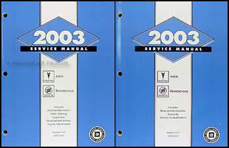 2003 aztek rendezvous repair shop manual original 2 volume set rh faxonautoliterature com 2003 Pontiac Aztek 2002 Aztek