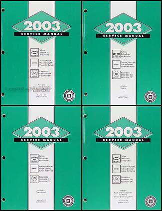 2003 ck suv repair shop manual 4 vol set avalanche suburban tahoe rh faxonautoliterature com 2003 gmc yukon manual pdf 2003 gmc yukon repair manual pdf