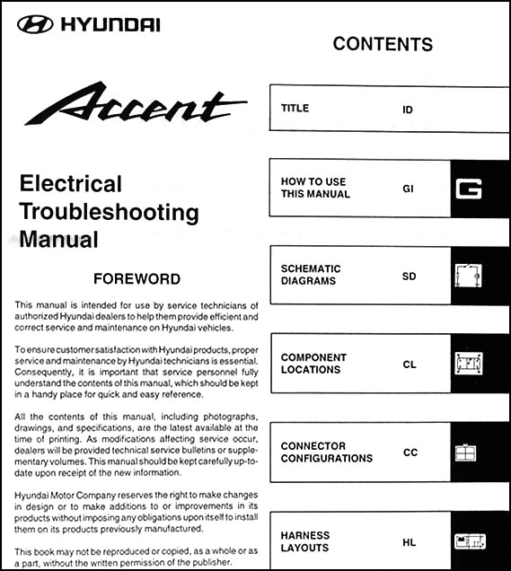 2003HyundaiAccentETM TOC 2003 hyundai accent electrical troubleshooting manual original 2003 hyundai accent wiring diagram at gsmx.co