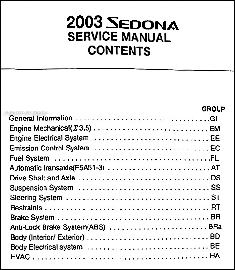 2003 kia sedona repair shop manual original rh faxonautoliterature com manual de kia sedona 2003 en español kia sedona 2003 owners manual