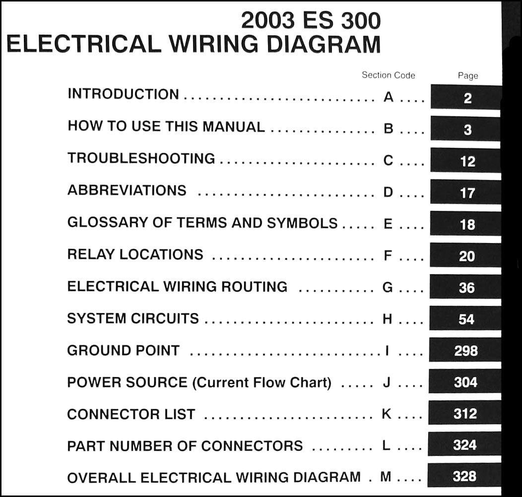 2003 lexus es 300 wiring diagram manual original. Black Bedroom Furniture Sets. Home Design Ideas