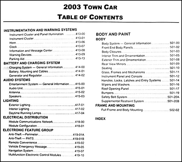 2003LincolnTownCarORM TOC2 2003 lincoln town car repair shop manual original 1998 Lincoln Town Car Wiring Diagram at eliteediting.co