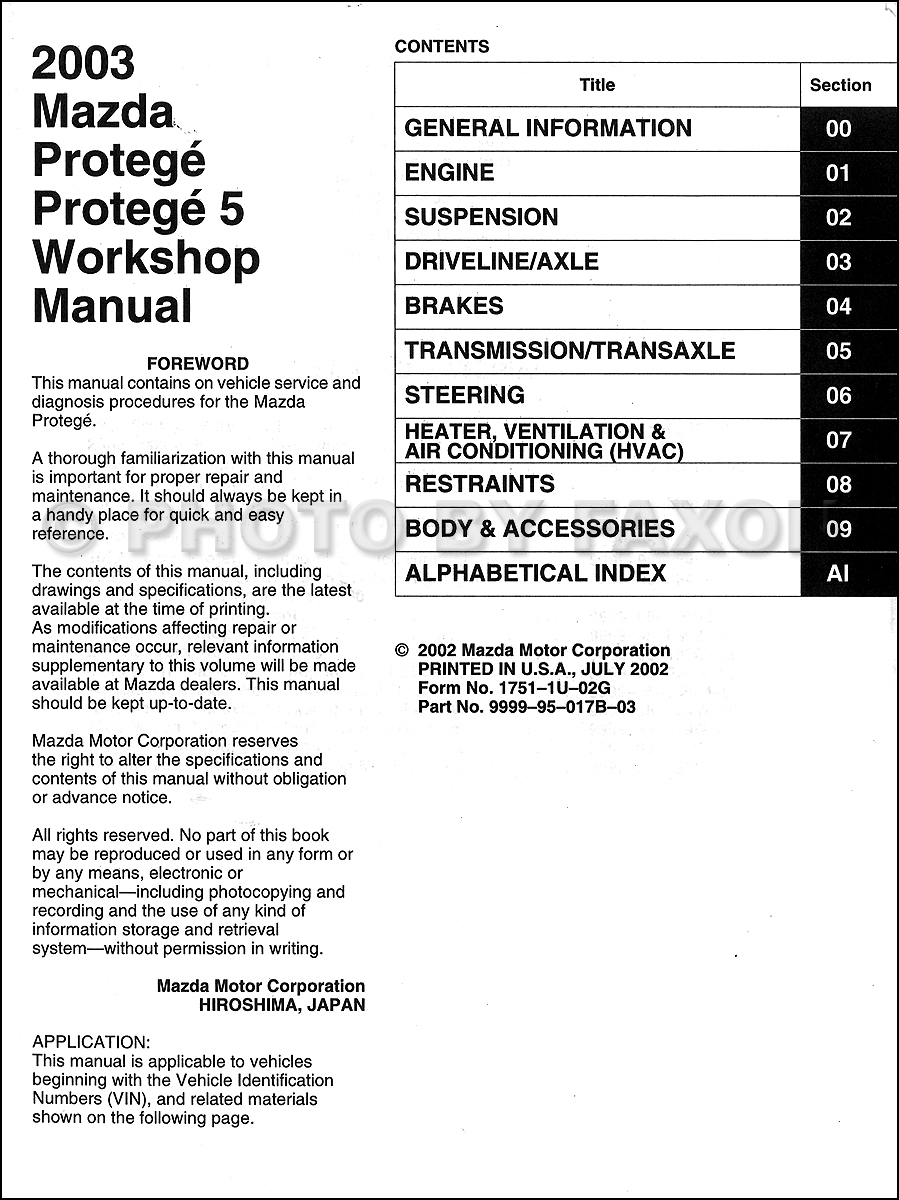2002 mazda protege 5 service manual how to and user guide rh taxibermuda co 2002 mazda protege workshop manual 2002 mazda protege 5 shop manual