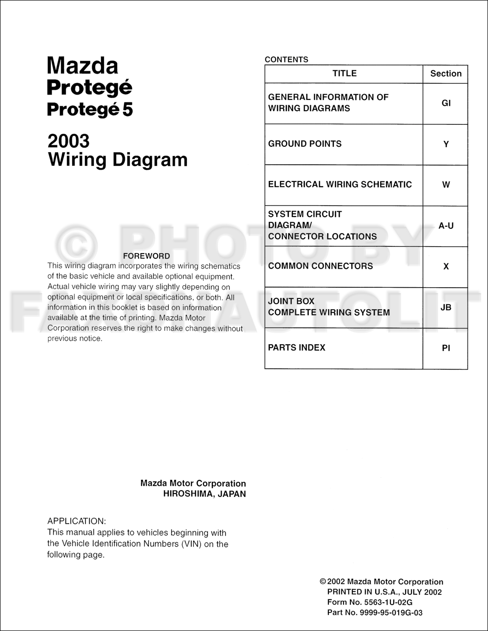 Mazda 3 Z6 Wiring Diagram : Mazda protege and wiring diagram manual original