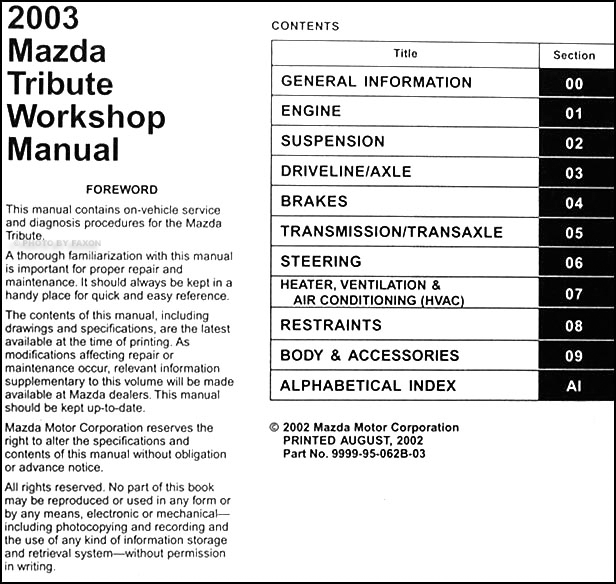 2003 mazda tribute repair shop manual original rh faxonautoliterature com 2005 mazda tribute repair manual pdf 2003 mazda tribute repair manual pdf