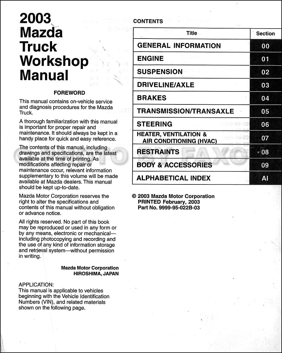 2003 Mazda Pickup Truck Repair Shop Manual Original B2300
