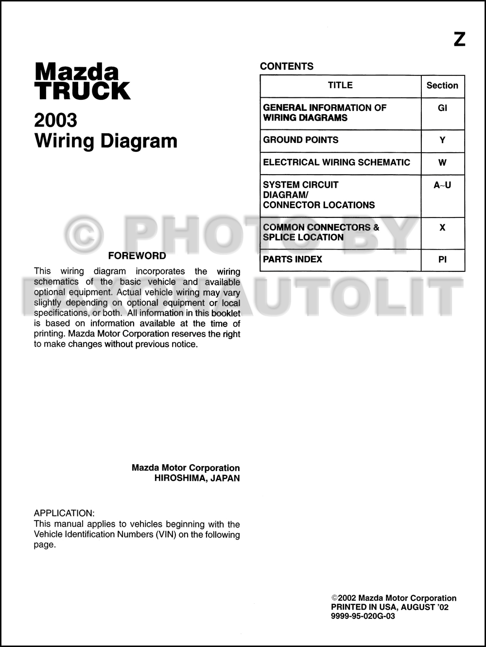 2003 Mazda Truck Wiring Diagram Manual Original B2300 B3000 B4000