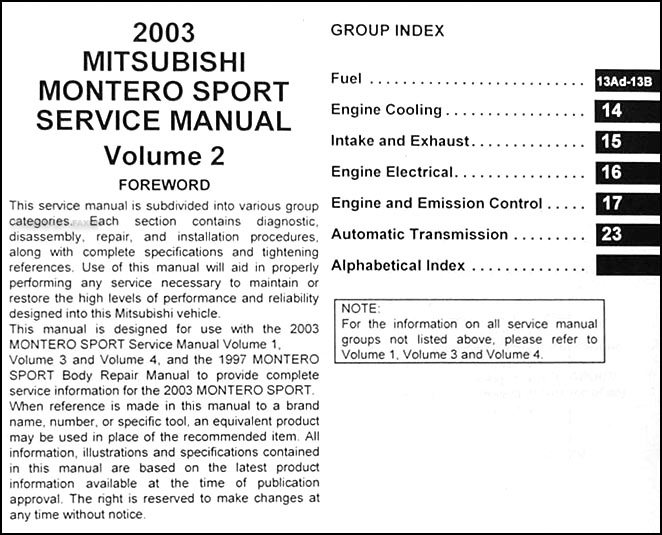 2003 Mitsubishi Montero Sport Repair Shop Manual Set Original