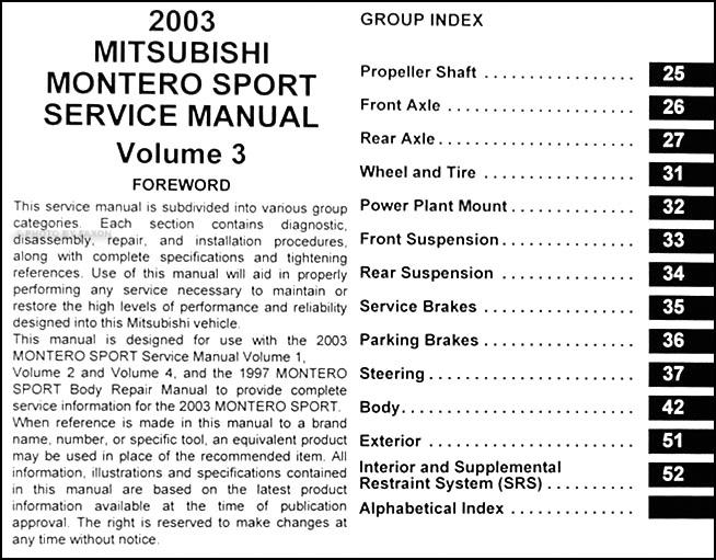 2003 mitsubishi montero sport repair shop manual set original rh faxonautoliterature com Mitsubishi Montero Sport Wiring Diagram Mitsubishi Montero Sport Wiring Diagram