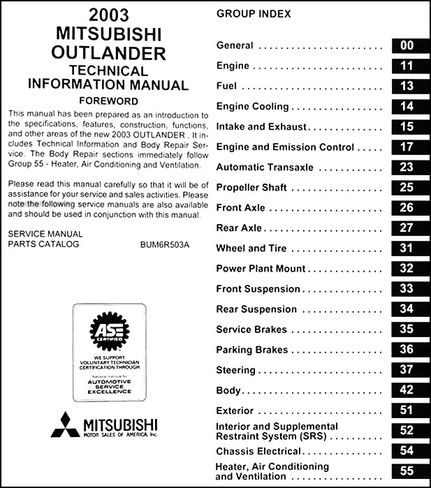 2003MitsubishiOutlanderOBM TOC 2003 mitsubishi outlander body manual original  at virtualis.co