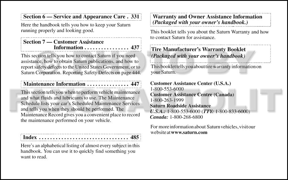 2003 saturn l series owner s manual original l200 l300 rh faxonautoliterature com 2001 Saturn L200 2003 saturn l300 owner's manual
