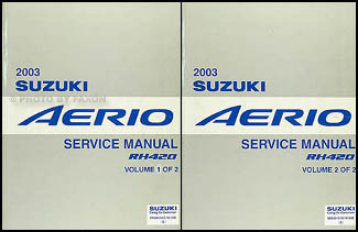 2003 suzuki aerio repair shop manual 2 volume set original rh faxonautoliterature com suzuki aerio service manual pdf 2003 suzuki aerio service manual