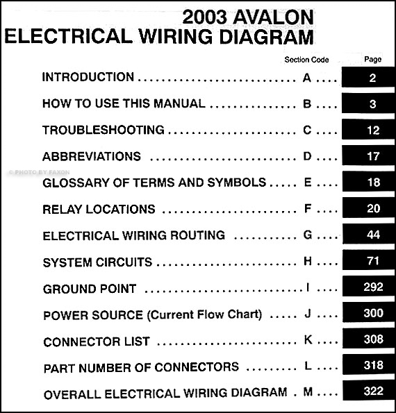 2003 Toyota Avalon Wiring Diagram Manual Original