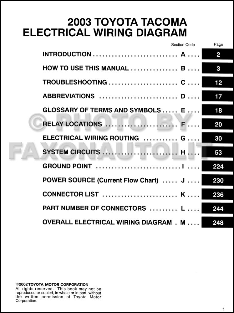 2003 toyota tacoma pickup wiring diagram manual original rh faxonautoliterature com Toyota Tacoma Electrical Wiring Diagram toyota tacoma transmission parts