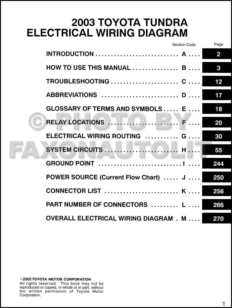 2003 toyota tundra wiring diagram manual original 2000 toyota tundra 2003 toyota tundra wiring diagram manual original · table of contents page