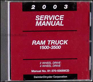 2003 dodge ram 1500 3500 truck repair shop manual cd rom. Black Bedroom Furniture Sets. Home Design Ideas