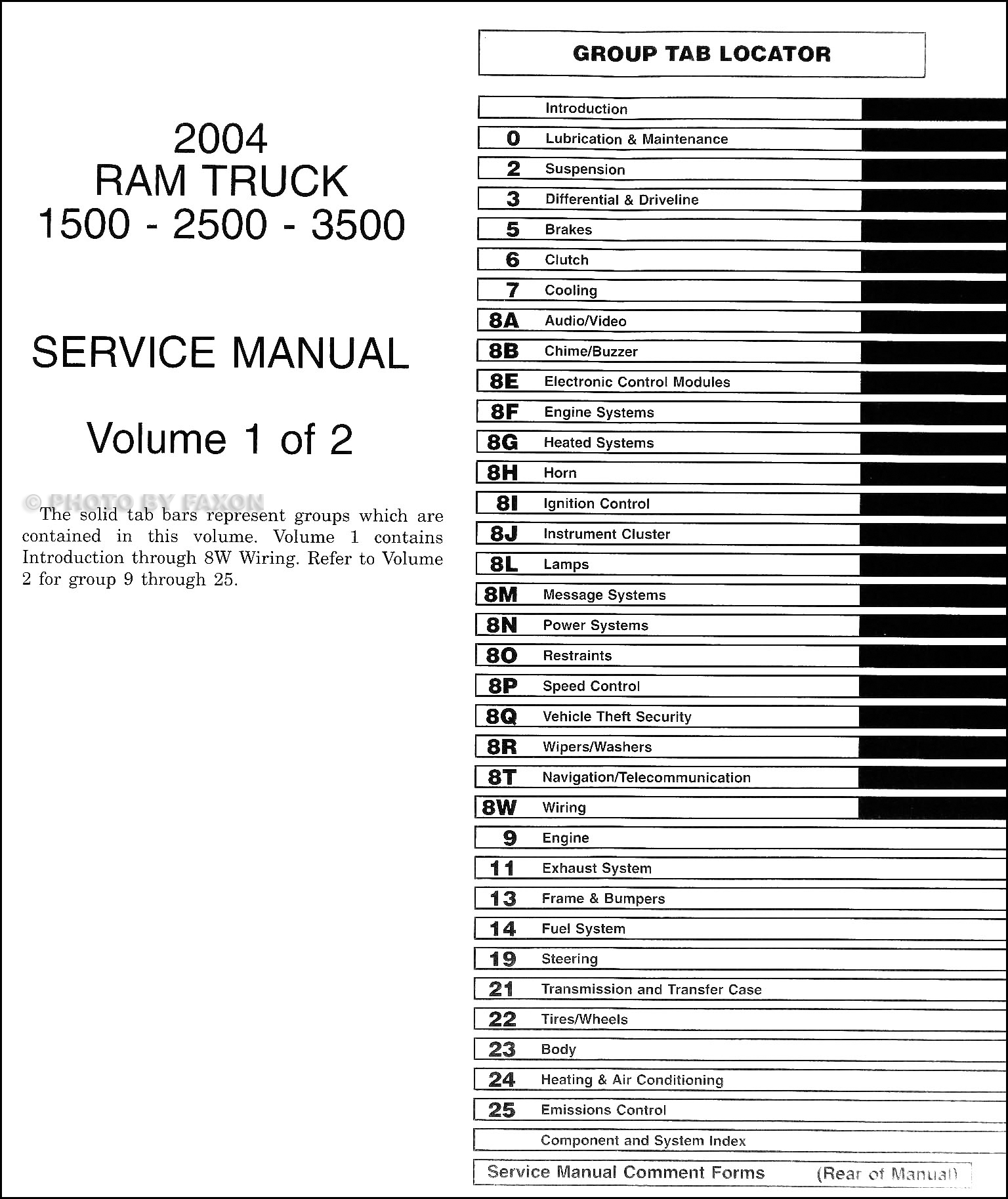 2004DodgeRamTruckORM TOC 2004 dodge ram 1500 3500 repair shop manual original 2 volume set 2004 dodge ram fuse diagram at aneh.co