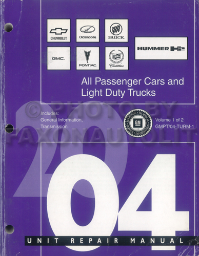 2004 GM Automatic Transmission Overhaul Manual Original