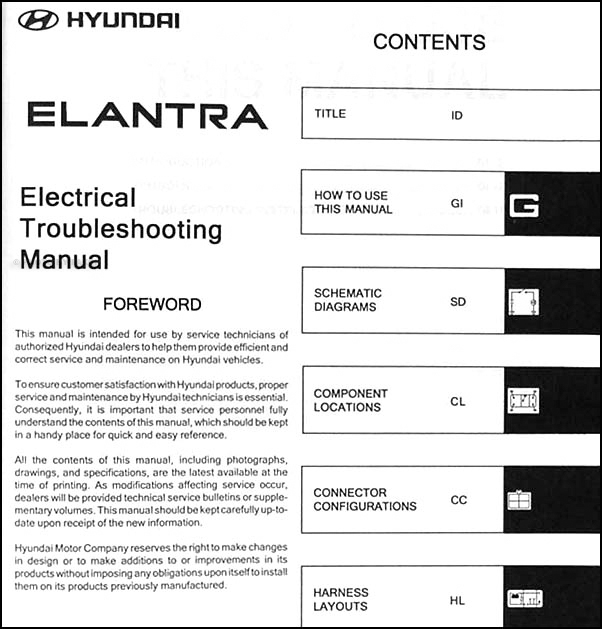2004 hyundai elantra electrical troubleshooting manual original
