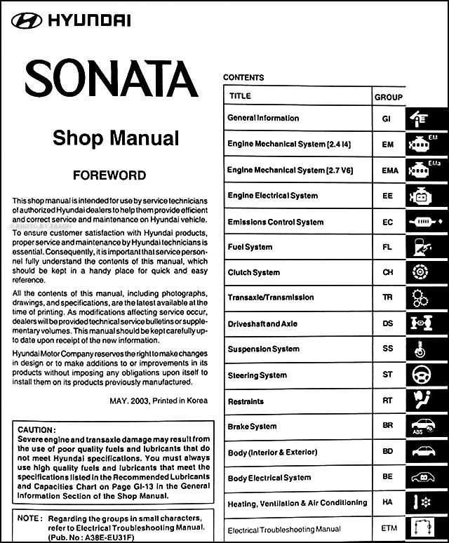 2001 hyundai sonata service manual free owners manual u2022 rh wordworksbysea com Hyundai Sonata OEM Parts Hyundai Sonata OEM Parts