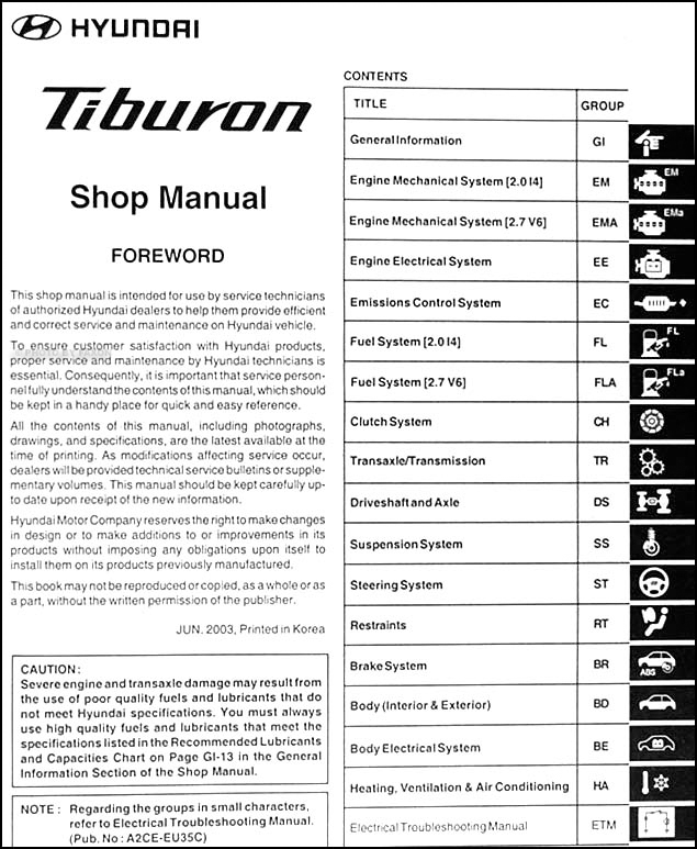 2004 hyundai tiburon repair shop manual original. Black Bedroom Furniture Sets. Home Design Ideas