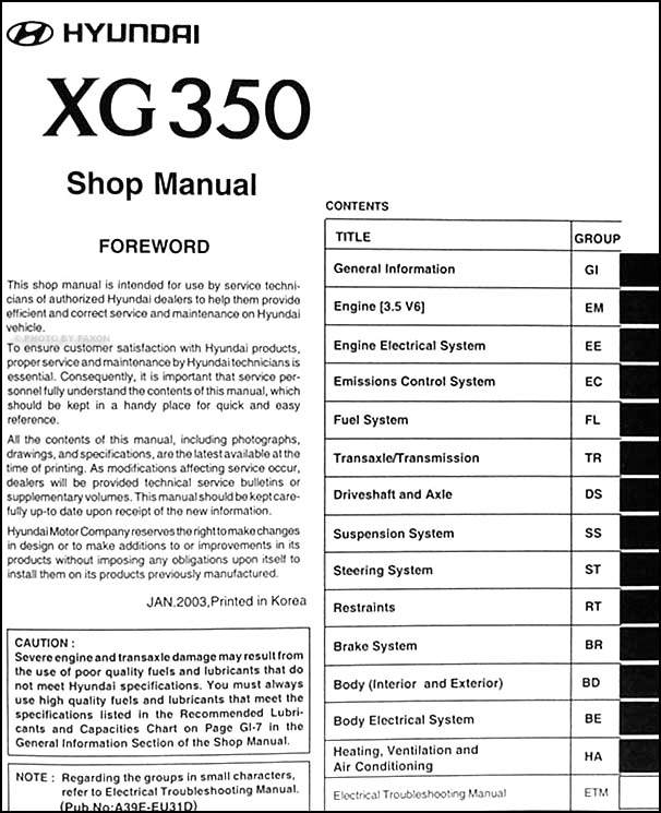 2004 hyundai xg 350 repair shop manual original rh faxonautoliterature com 2005 Hyundai XG350 Repair Manual 2003 Hyundai XG350 Repair Manual