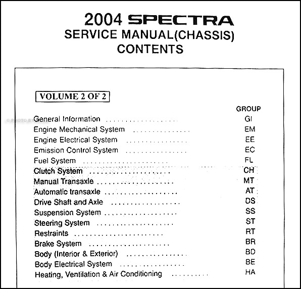 2004 Kia Spectra Repair Shop Manual Original 2 Vol  Set