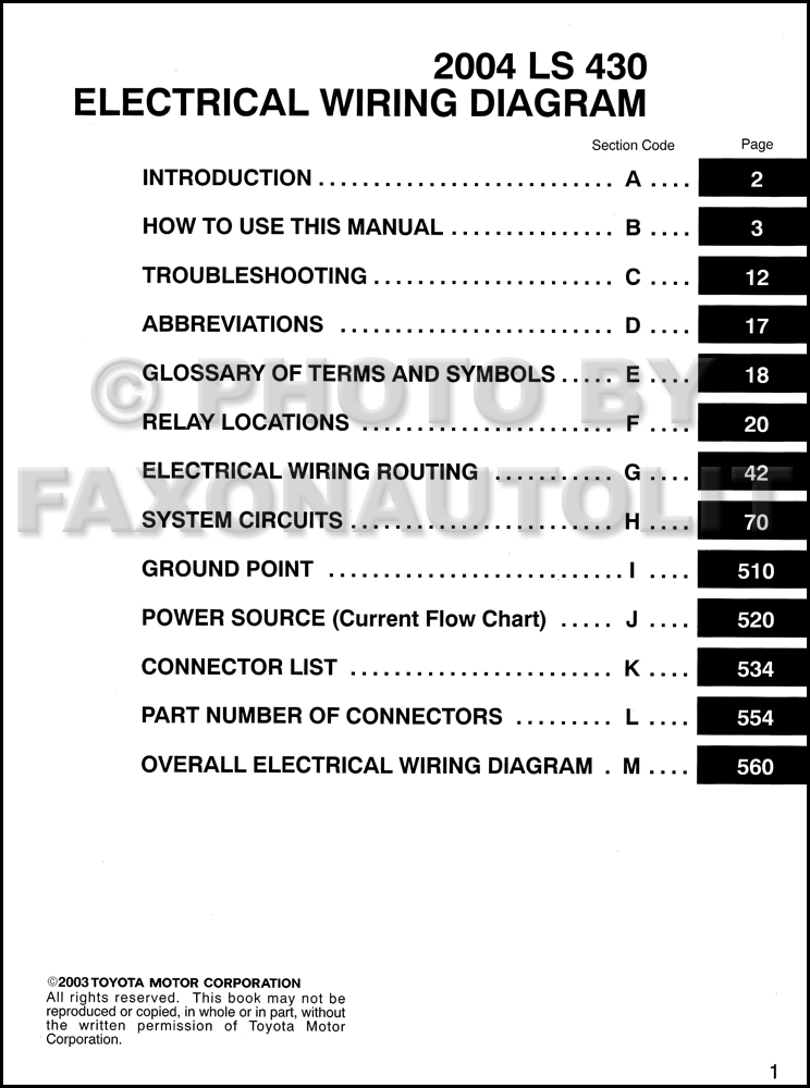 2004 Lexus Ls 430 Wiring Diagram Manual Original
