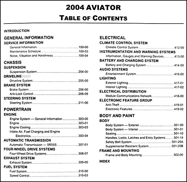 2004 Lincoln Aviator Original Repair Shop Manual – Lincoln Aviator 2004 Engine Diagram