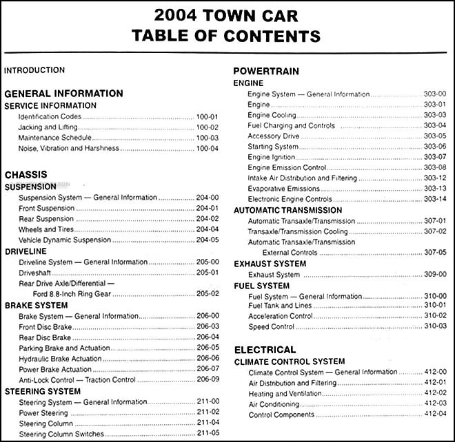 2004LincolnTownCarORM TOC1 2004 lincoln town car repair shop manual original 1998 Lincoln Town Car Wiring Diagram at eliteediting.co