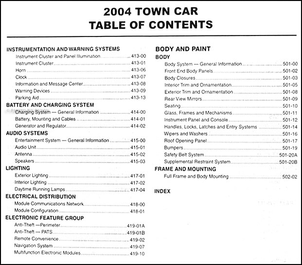 2004LincolnTownCarORM TOC2 2004 lincoln town car repair shop manual original 1998 Lincoln Town Car Wiring Diagram at eliteediting.co
