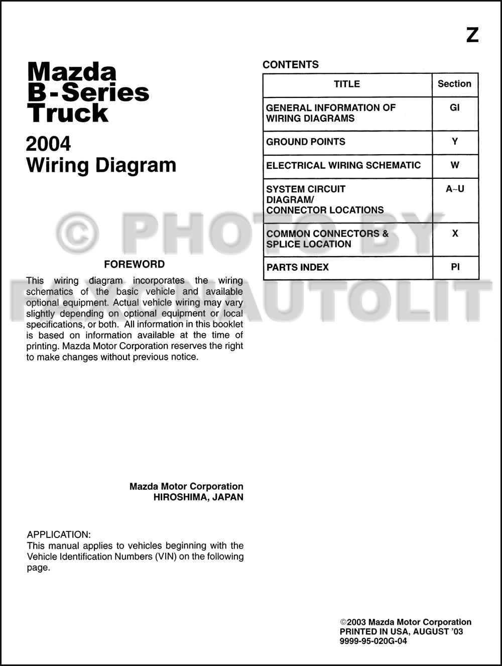 2004 mazda b series pickup truck wiring diagram manual