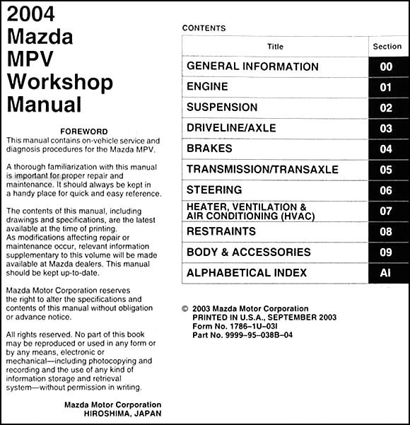 2004 mazda mpv repair shop manual original rh faxonautoliterature com 2003 mazda mpv repair manual pdf mazda mpv workshop manual pdf