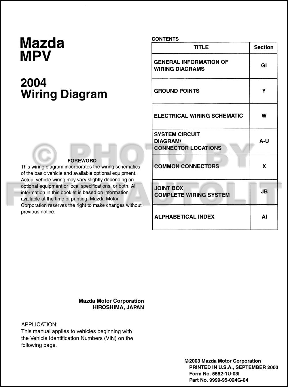 2004 mazda mpv wiring diagram manual original. Black Bedroom Furniture Sets. Home Design Ideas