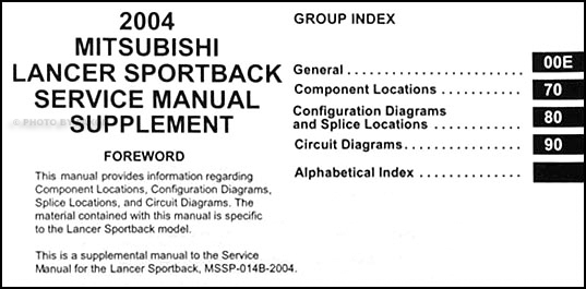 2004 Mitsubishi Lancer Sportback Wiring Diagram Manual