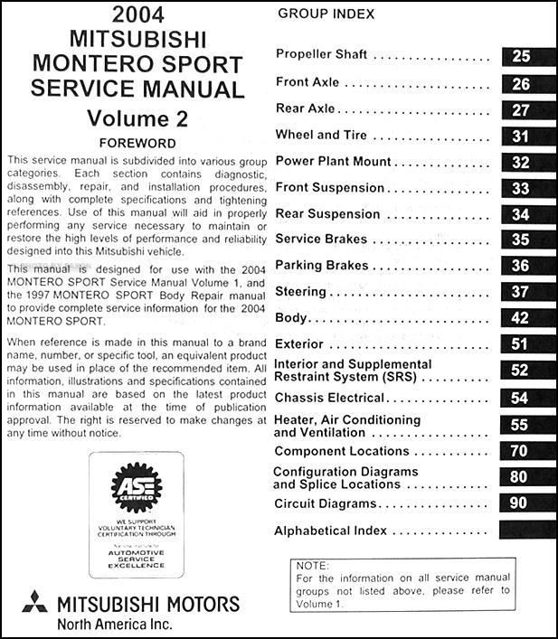 2004MitsuMonteroSportORM TOC2 2004 mitsubishi montero sport original repair shop manual set  at crackthecode.co