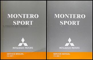 2004MitsuMonteroSportORMSet 2004 mitsubishi montero sport original repair shop manual set  at crackthecode.co