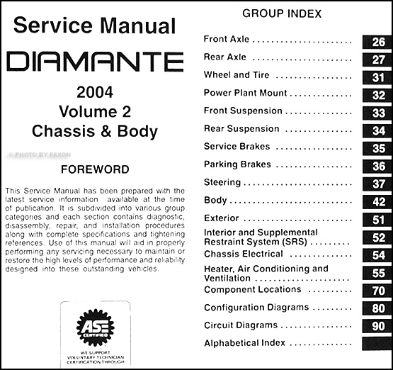 2004 mitsubishi diamante repair shop manual set original 2 volume set rh faxonautoliterature com 1999 Mitsubishi Diamante Interior 1997 Mitsubishi Diamante