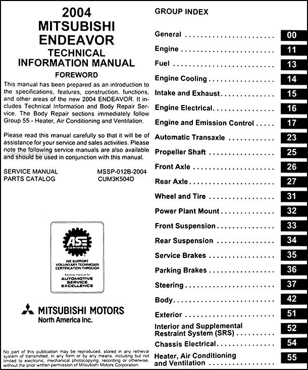 2004MitsubishiEndeavorOBM TOC 2004 mitsubishi endeavor body manual original 2005 mitsubishi endeavor wiring diagram at readyjetset.co