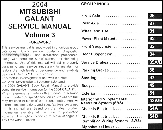 2004 mitsubishi galant repair shop manual set original rh faxonautoliterature com 2010 Mitsubishi Galant SE 2003 Mitsubishi Galant Wiring-Diagram