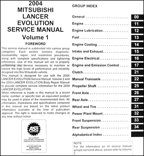 2004 mitsubishi lancer evolution service manual original 2 2015 Mitsubishi Lancer 2002 Mitsubishi Lancer ManualDownload