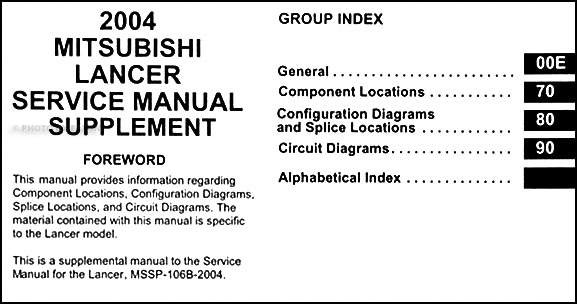 2004 mitsubishi lancer wiring diagram manual original 2004 mitsubishi lancer wiring diagram manual original table of contents swarovskicordoba Image collections