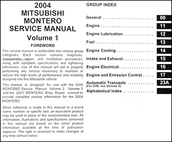 2004MitsubishiMonteroORM TOC1 2004 mitsubishi montero repair shop manual original set  at crackthecode.co