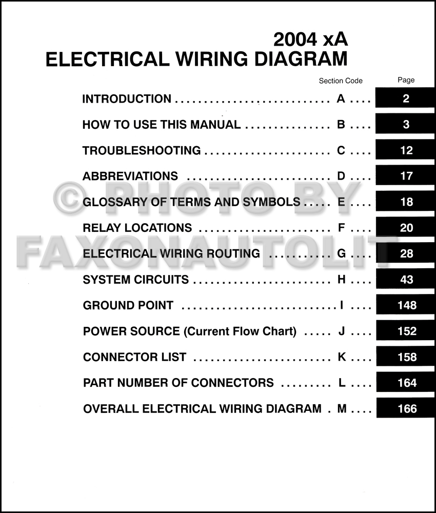 2004 Scion Xa Wiring Diagram Manual Original