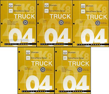 2004 Chevy Silverado GMC Sierra and Denali Repair Shop Manual Original Set
