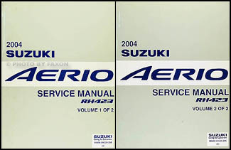 2004 suzuki aerio repair shop manual 2 volume set original rh faxonautoliterature com 2004 Suzuki Verona Fuel Vent Valve 2004 Suzuki Aerio Sports