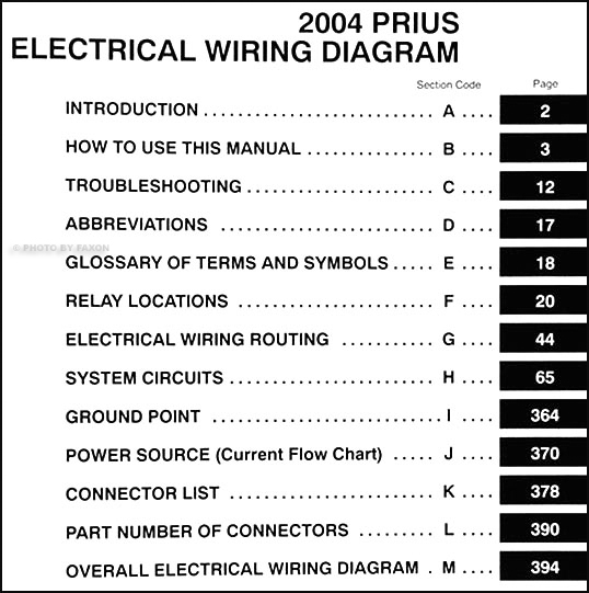 2004ToyotaPriusWD TOC 2004 toyota prius wiring diagram manual original 2004 prius wiring diagram at panicattacktreatment.co